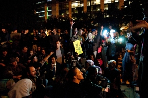 Demonstrators gather outside Austin City Hall for a general assembly after marching from the state Capitol, Thursday. Participants of Occupy Austin have occupied city hall plaza since Oct. 6.